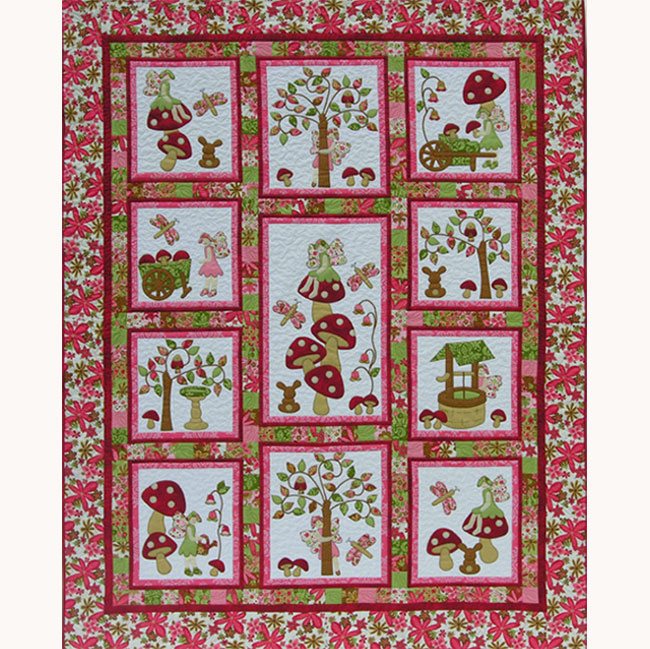 Kids quilts fairy tales red pattern puddleducks quilts for Red door design quilts